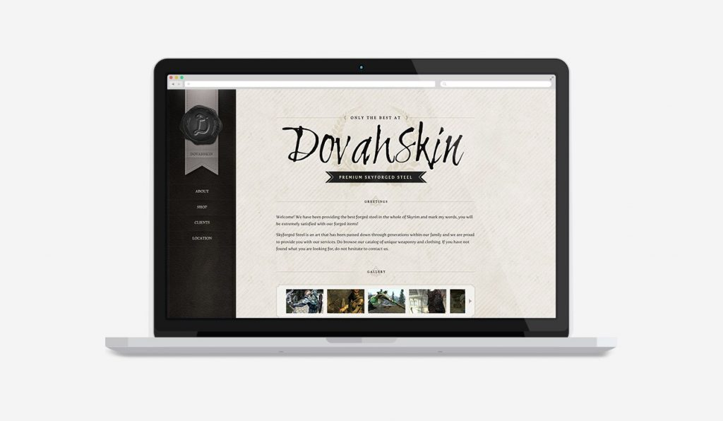Dovahskin, Skyrim Inspired Web Design by Denise Koh